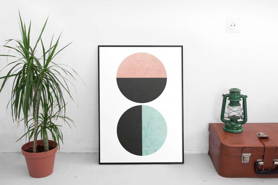 Abstracte Poster Met Cirkels - Betaalbare wanddecoratie