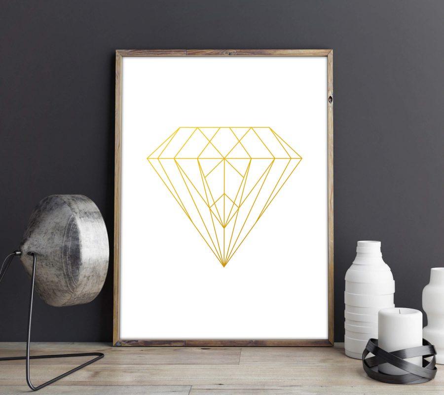 Geometrische Diamant Poster in Goud