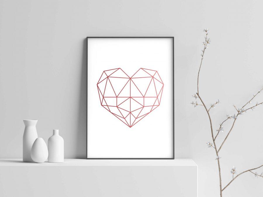 Geometrische hart poster