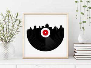 vinyl city poster en print - muziek wanddecoratie