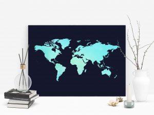 Watercolor Wereldkaart poster en print