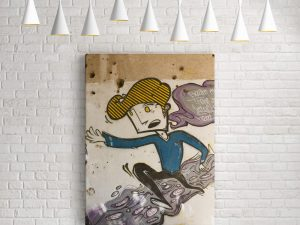 Running Boy Street Art op canvas