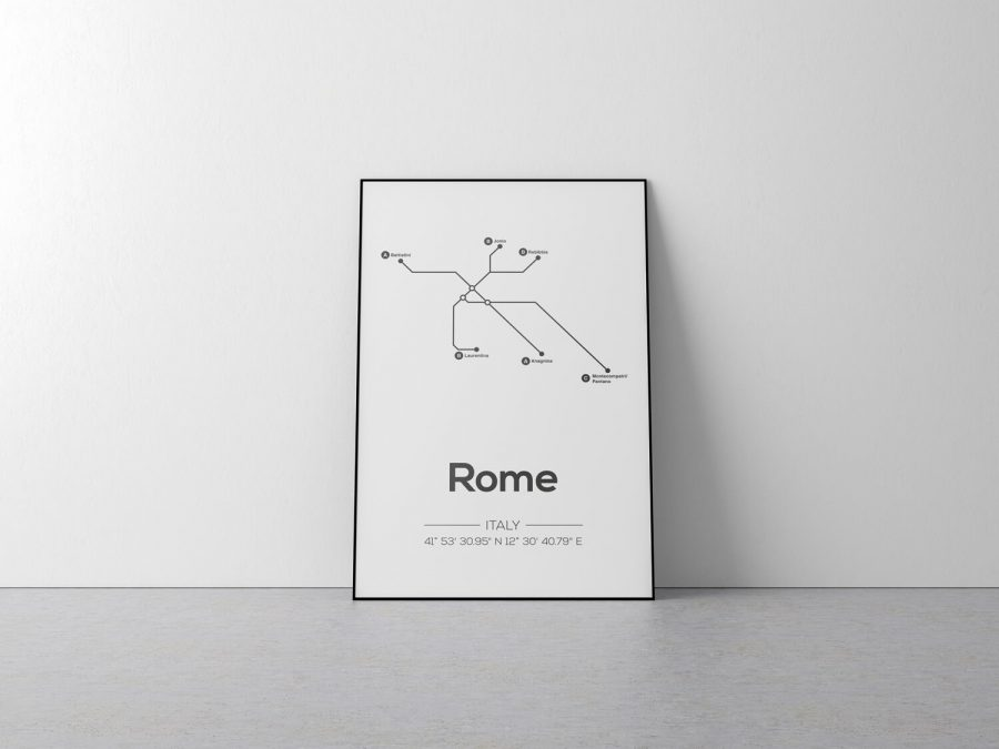 Rome Metrolijnen Poster - Scandinavische wanddecoratie