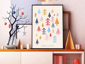 Scandinavische Muurdecoratie Colorful Trees kerst poster en print