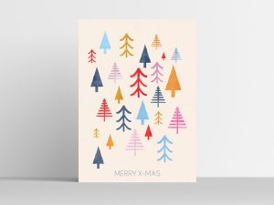 Scandinavische Muurdecoratie Colorful Trees Kerstposter