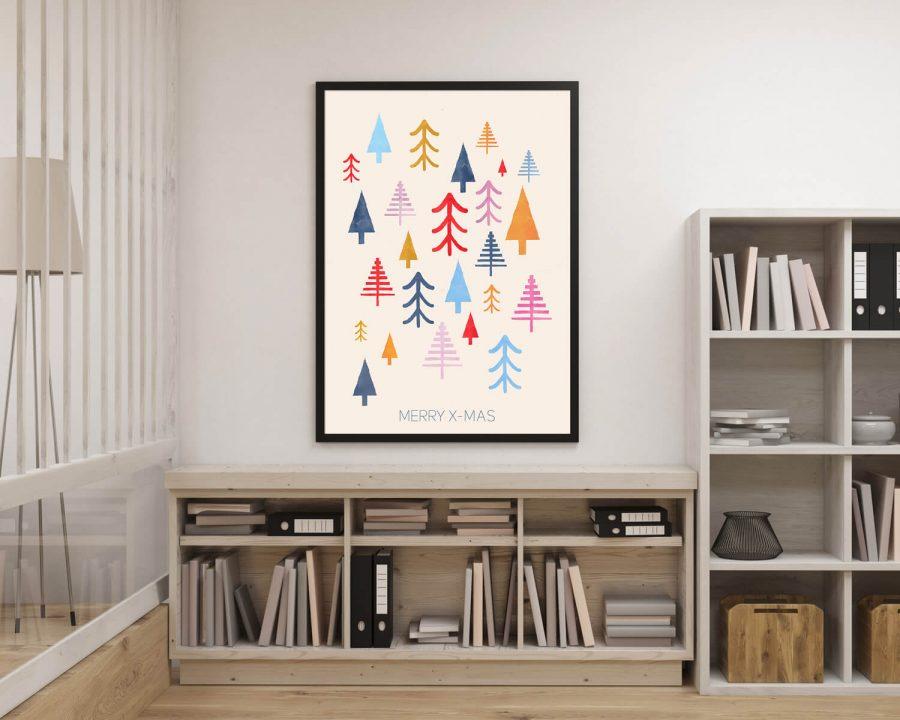 Scandinavische Muurdecoratie Colorful Trees Kerstposter