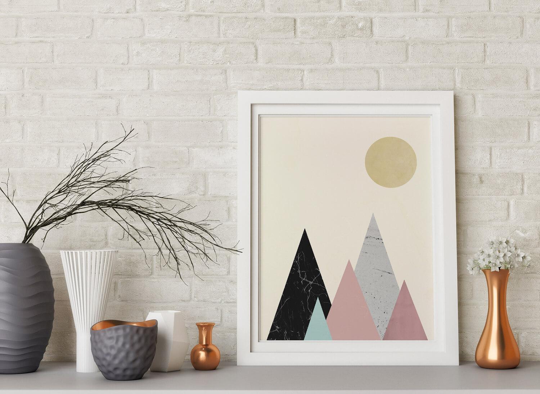 Minimalistische bergen poster u scandinavische wanddecoratie