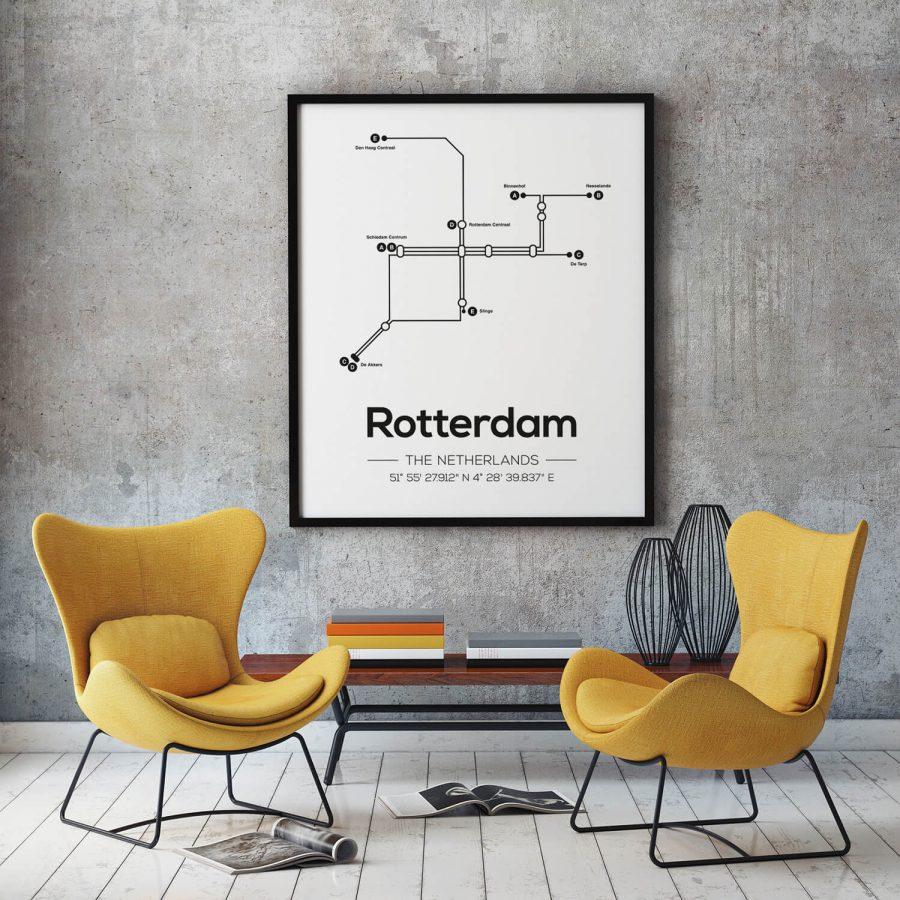 Rotterdam Metrolijnen Poster - Scandinavische Muurdecoratie