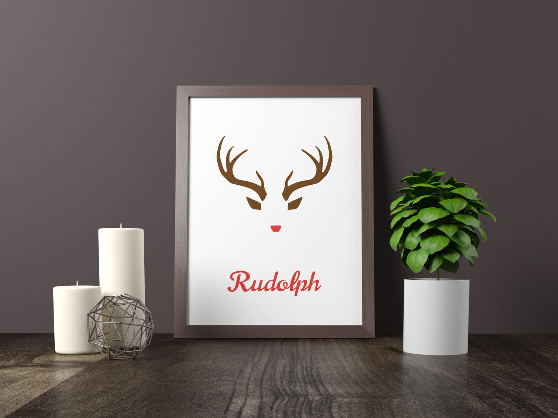 Rudolph kerstposter u scandinavische wanddecoratie mdrn home