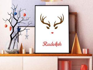 Rudolph Minimalistische Kerstposter - Scandinavische Wanddecoratie
