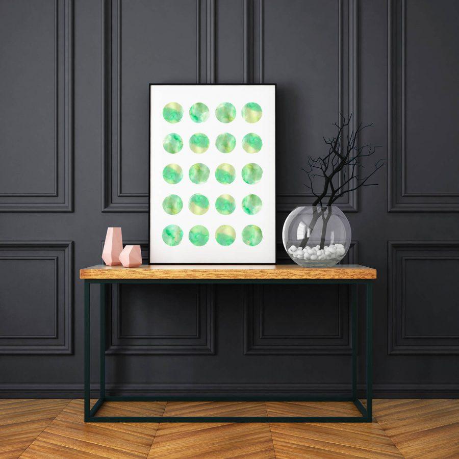 Moderne, Scandinavische poster met stippen in watercolor effect