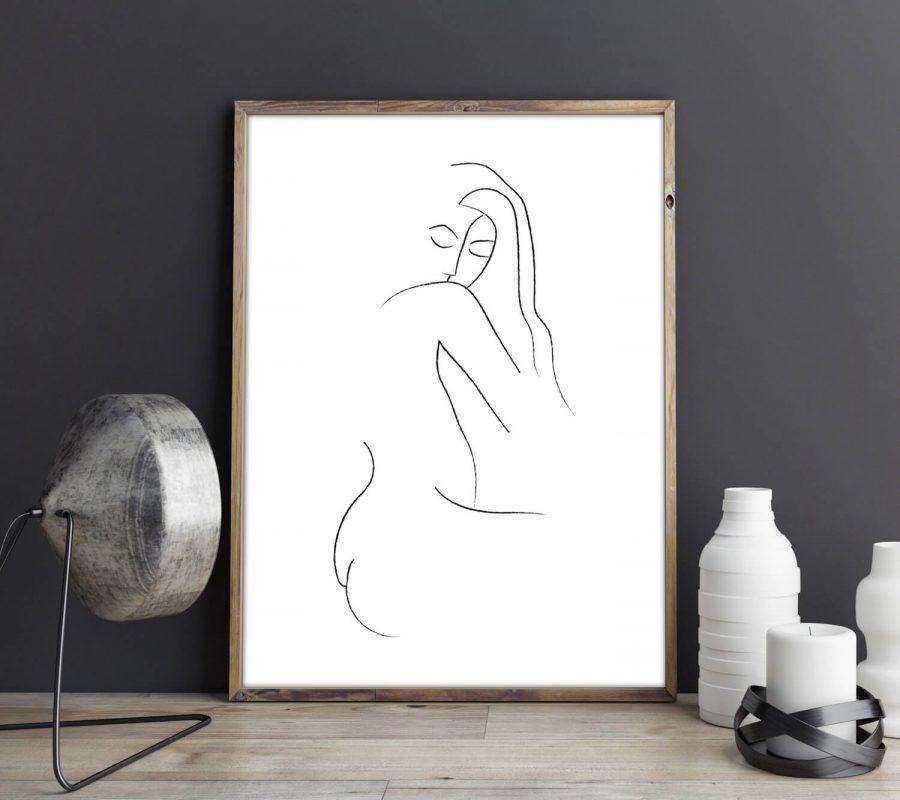 """""""Elegance"""" Vrouw in Lijnen Poster - Scandinavische Muurdecoratie"""