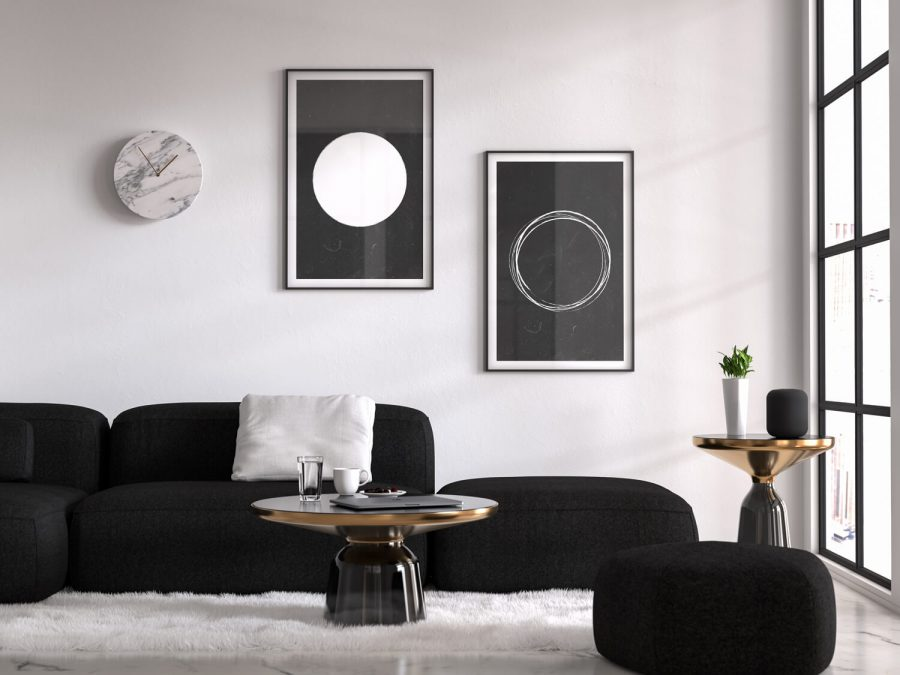 Scandinavische Minimalistische Posters met Grungy Cirkels - Set van 2