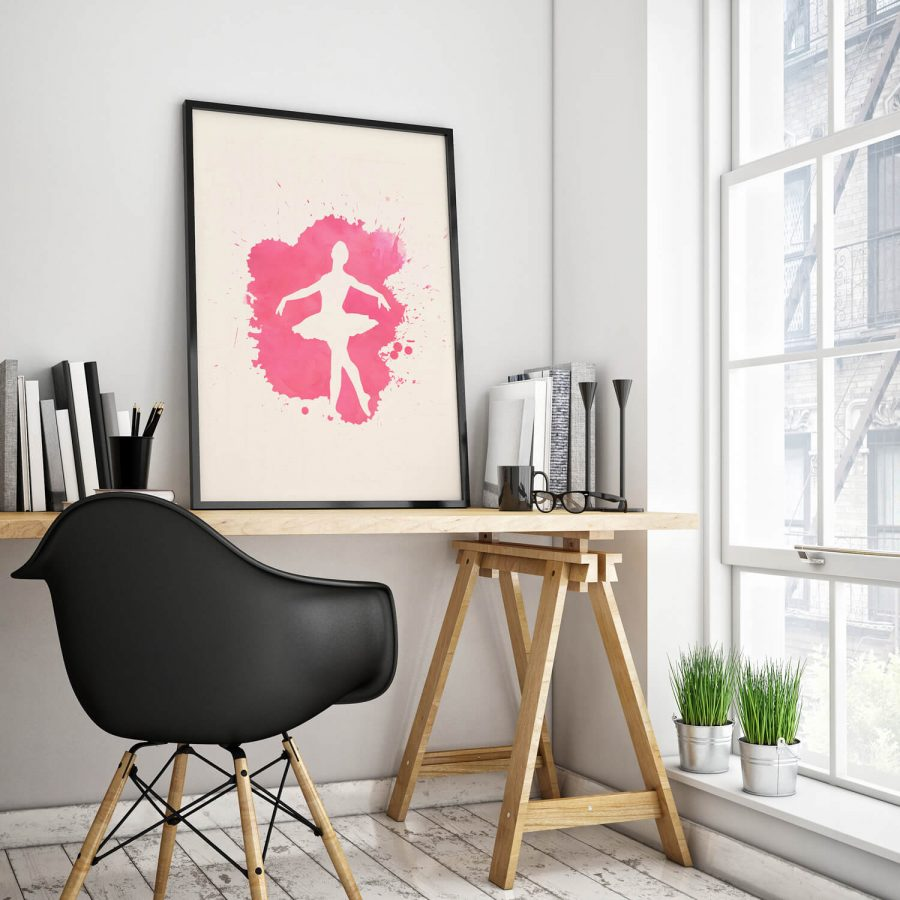 Pink Ballerina Poster - Moderne Muurdecoratie