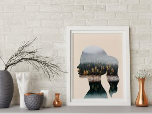 Woman & Nature - Moderne Muurdecoratie