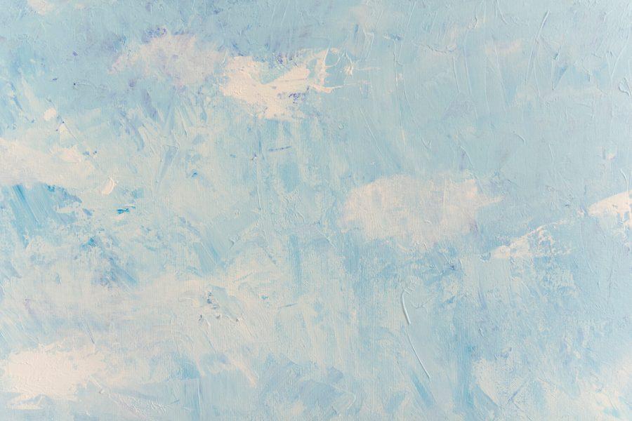 Blauwe lucht met wolken - Abstract Seascape schilderij