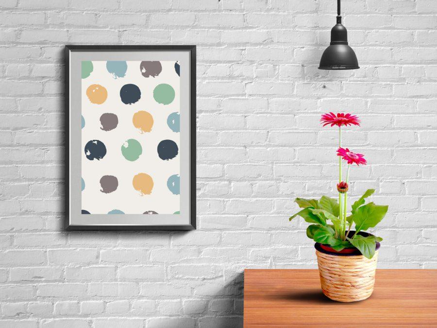 Fleurige, abstracte en Scandinavische poster met stippen