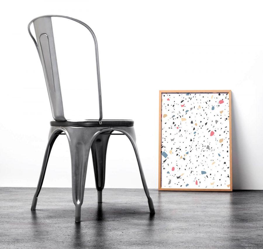Abstracte, geometrische terrazzo patroon poster