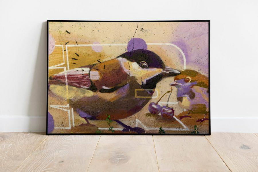Two Birds Street Art Printable - Industriële wanddecoratie