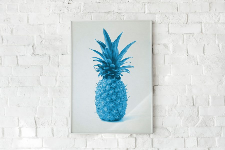 Blue Pineapple Abstracte Poster