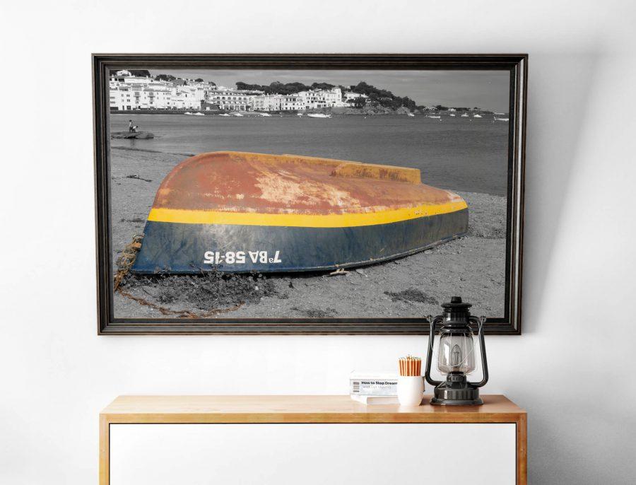 Bootje op het strand - Moderne wanddecoratie