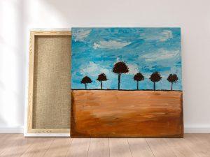 abstract landschap bomen schilderij - Moderne kunst kopen