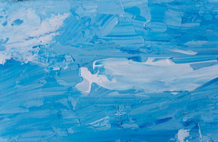 abstract landschap bomen schilderij blauwe lucht