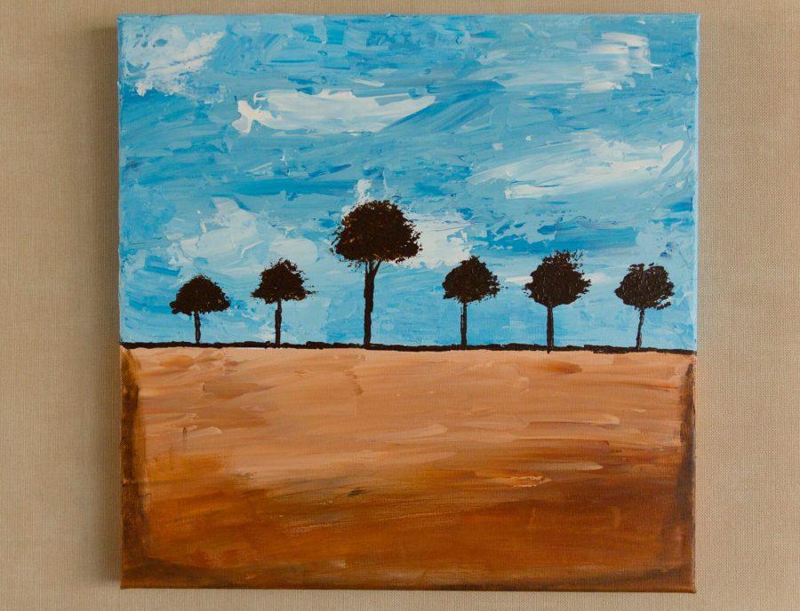 abstract landschap bomen schilderij modern kunstwerk