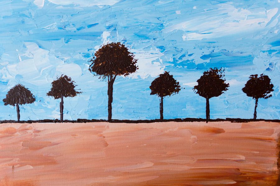abstract trees schilderij - Betaalbare moderne kunst