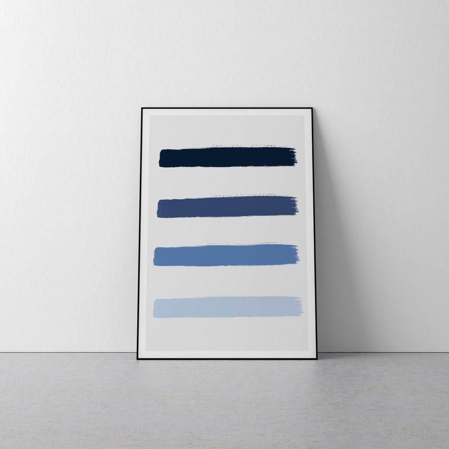 Ocean Blue Brushstrokes - Minimalistische Poster