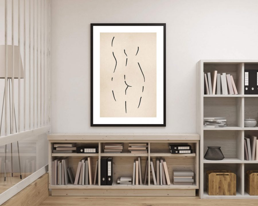 Vrouwenfiguur Line Art - Moderne Wanddecoratie