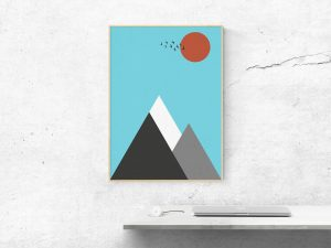Abstract Berglandschap Poster