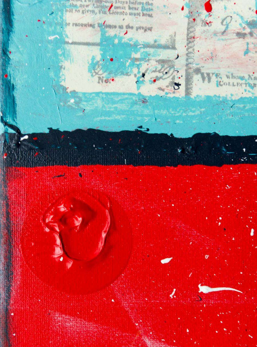 Abstract Schilderij - Rode en lichtblauw papier textuur.jpg