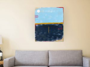 Abstract Blauw en Okergeel Schilderij - Moderne Kunst Kopen