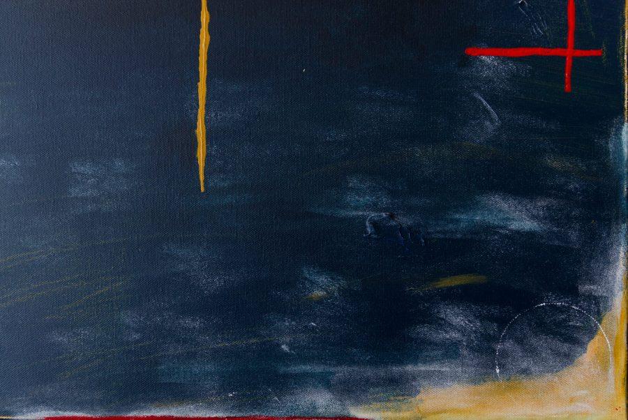 Abstract Blauw en Okergeel Schilderij details