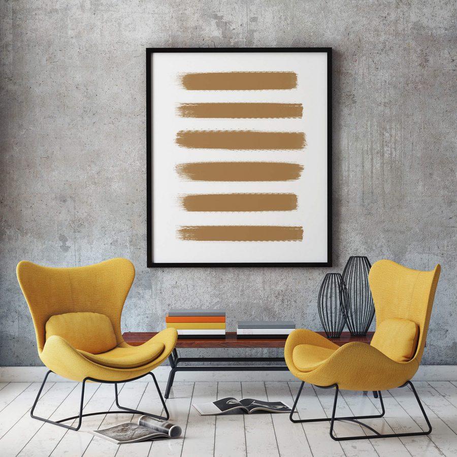 Golden Brushstrokes Abstracte Wanddecoratie