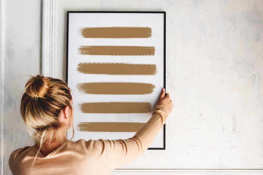 Golden Brushstrokes Poster