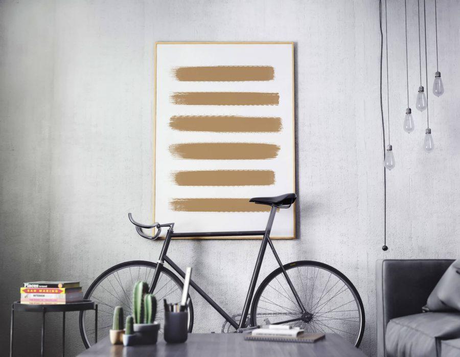 verfstrepen print Golden Brushstrokes - Abstracte Wanddecoratie