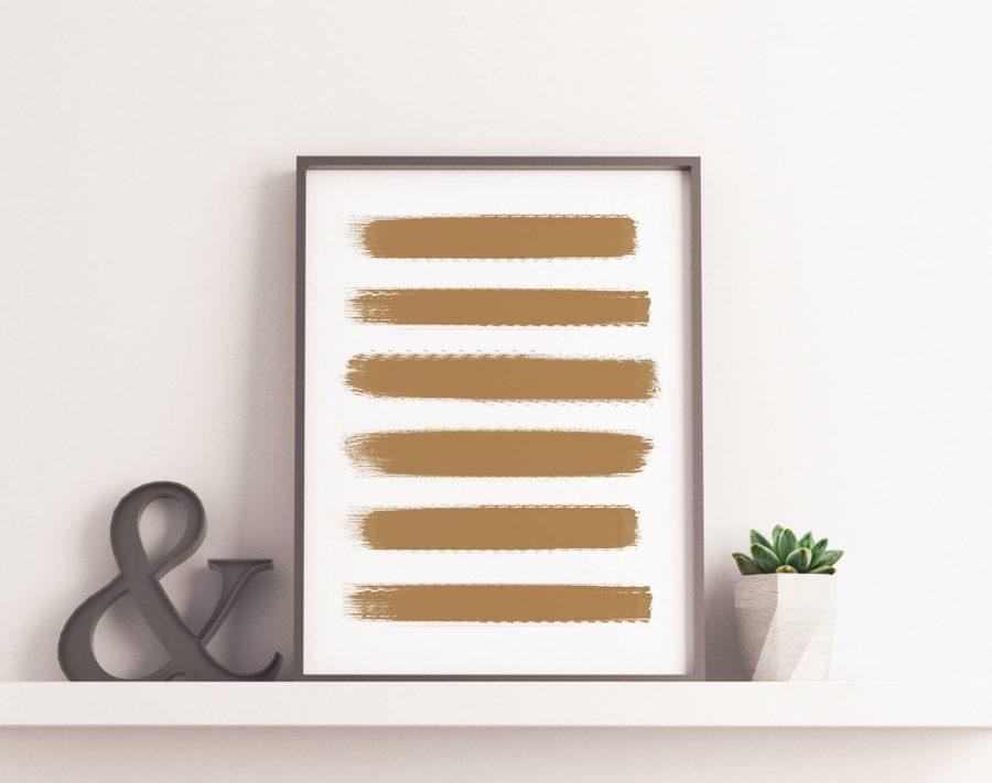 Gouden Penseelstreken Poster - Abstracte Wanddecoratie