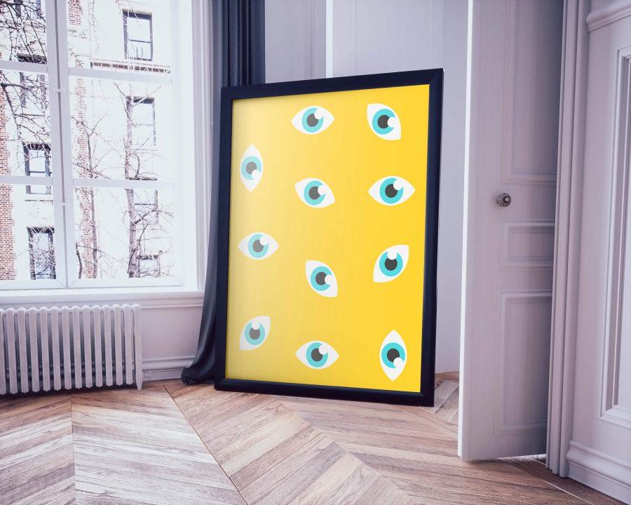 Ogen Patroon Moderne Poster - Abstracte Wanddecoratie