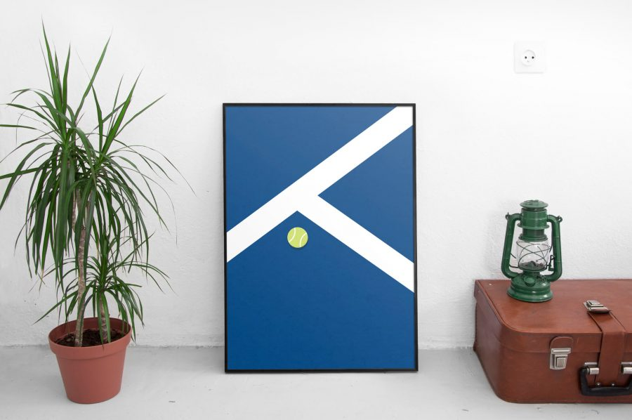 tennisbaan poster hardcourt