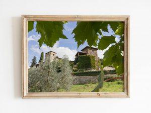 Italiaans Dorp Door Het Druivenblad Wanddecoratie