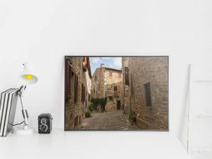 Middeleeuws Toscaans Dorp Poster - Architectuur Wanddecoratie