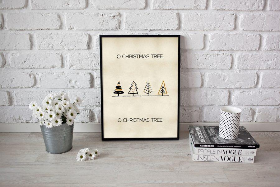 Scandinavische kerstposter met kerstbomen - Scandinavische Kerstdecoratie