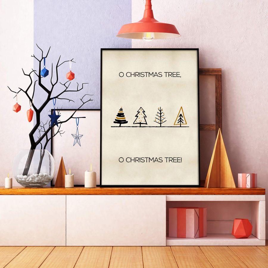 Scandinavische poster met kerstbomen - Scandinavische Kerstdecoratie