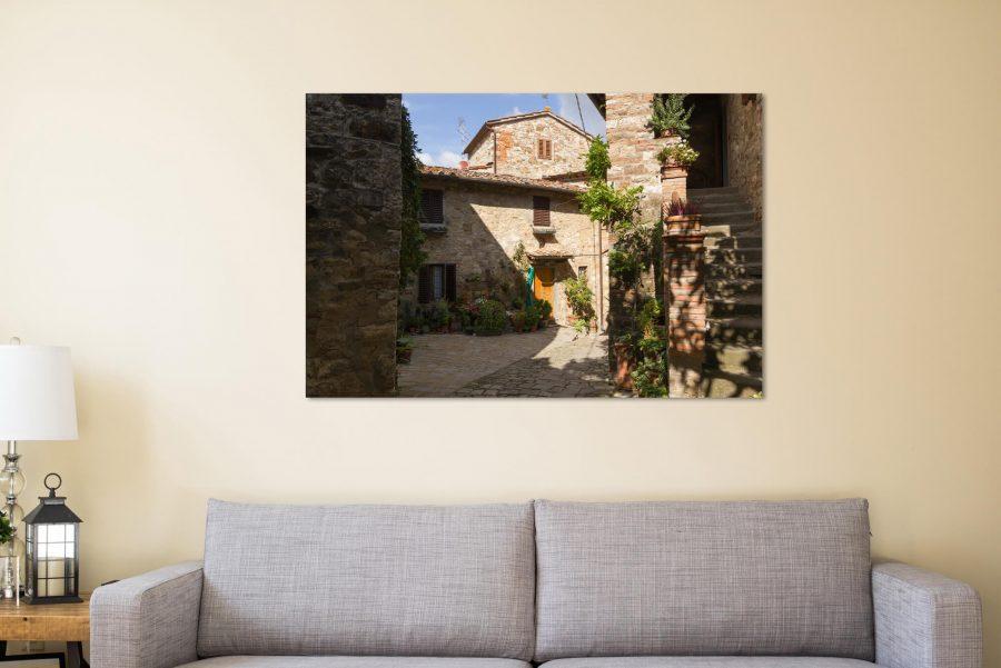 Straatje in Montefioralle Poster - Italie Wanddecoratie Kopen