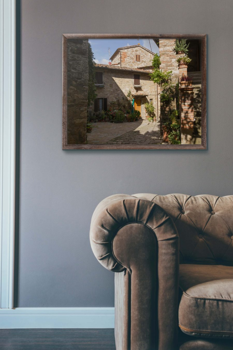 Straatje in Toscaans dorp Montefioralle Poster - Italie Wanddecoratie Kopen.jpg