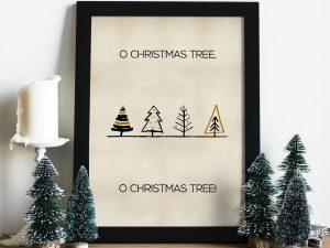 O, Christmas Tree Kerstposter - Kerstdecoratie Wanddecoratie