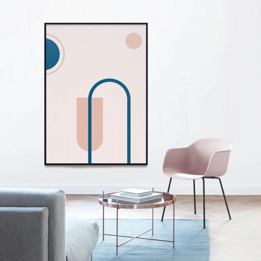 Pink Geometry Poster - Geometrische Wanddecoratie