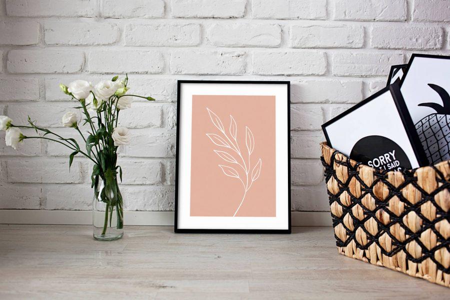 Pink Leaf Botanische Poster